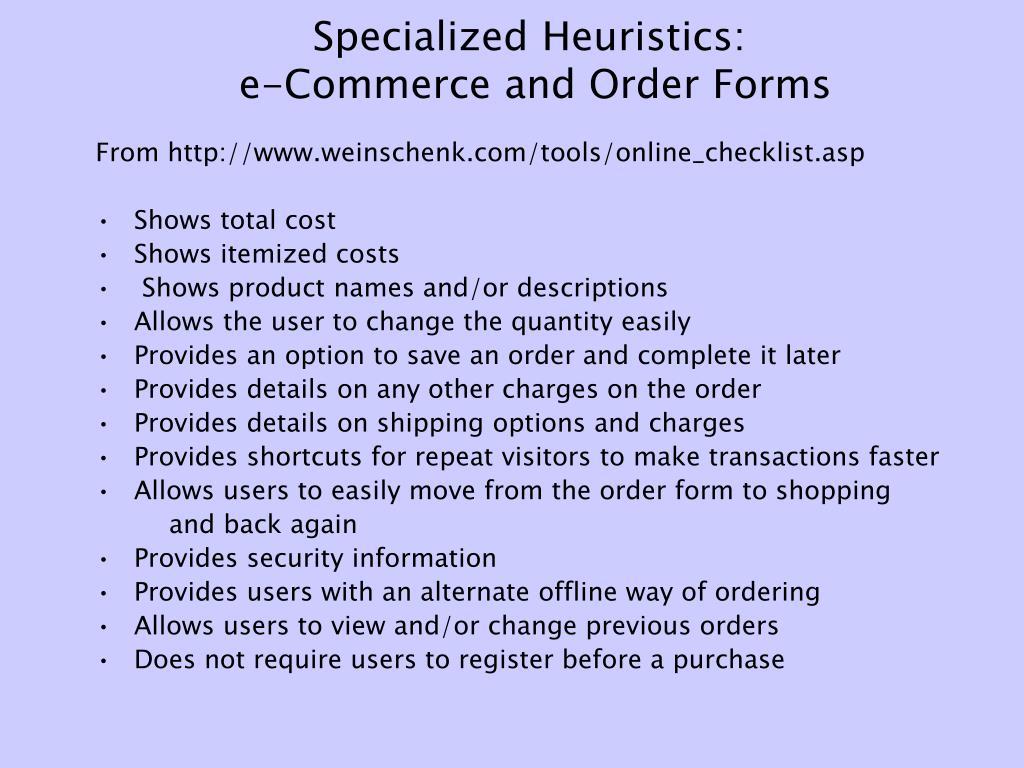Specialized Heuristics: