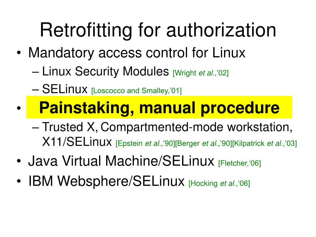 Retrofitting for authorization