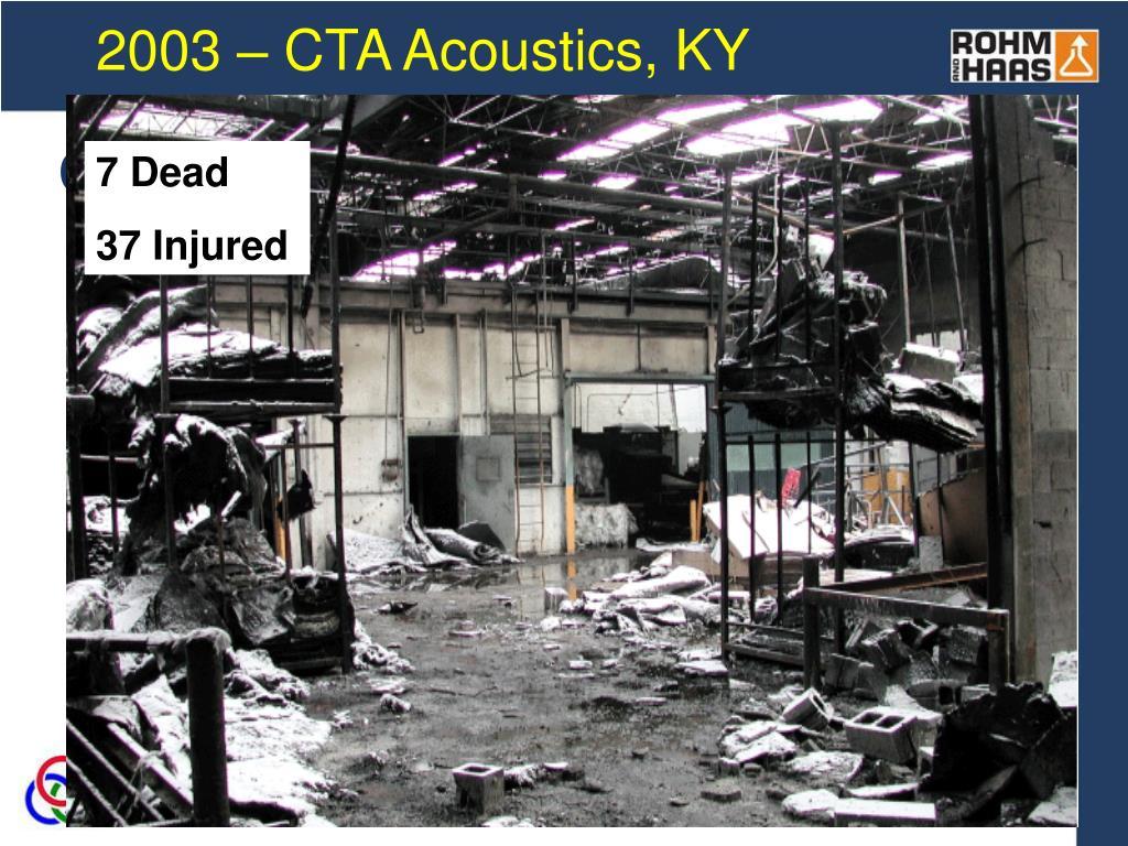 2003 – CTA Acoustics, KY