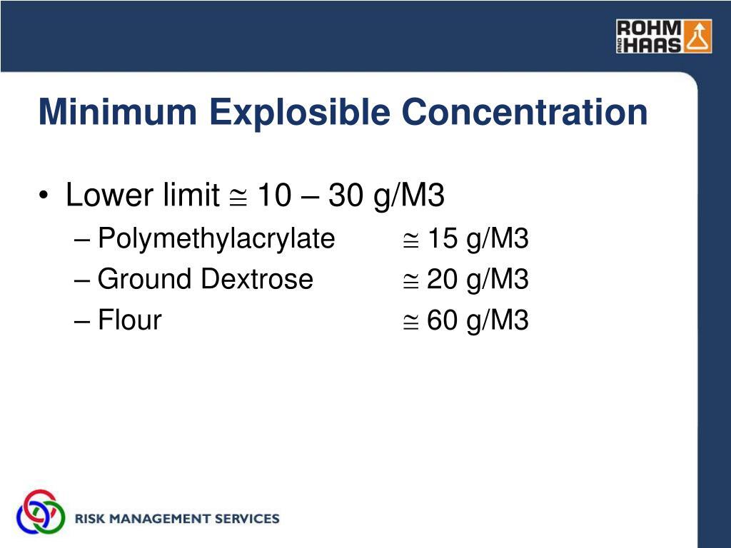 Minimum Explosible Concentration