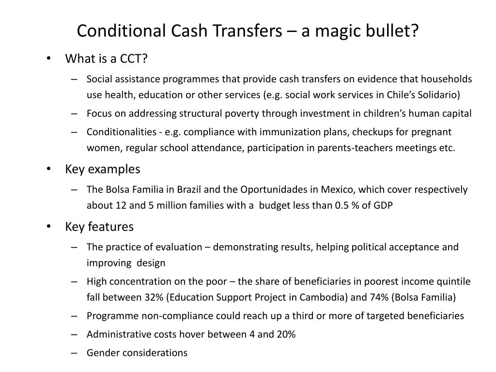 Conditional Cash Transfers – a magic bullet?