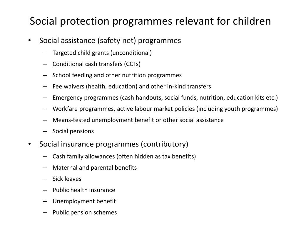 Social protection programmes relevant for children