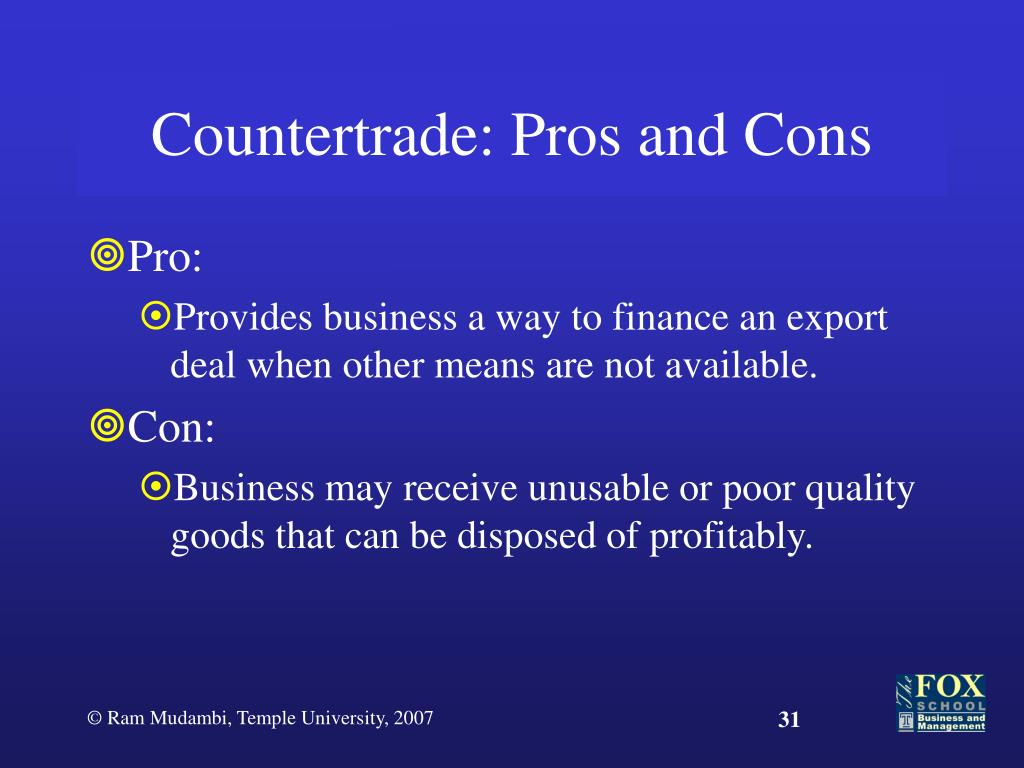Countertrade: Pros and Cons
