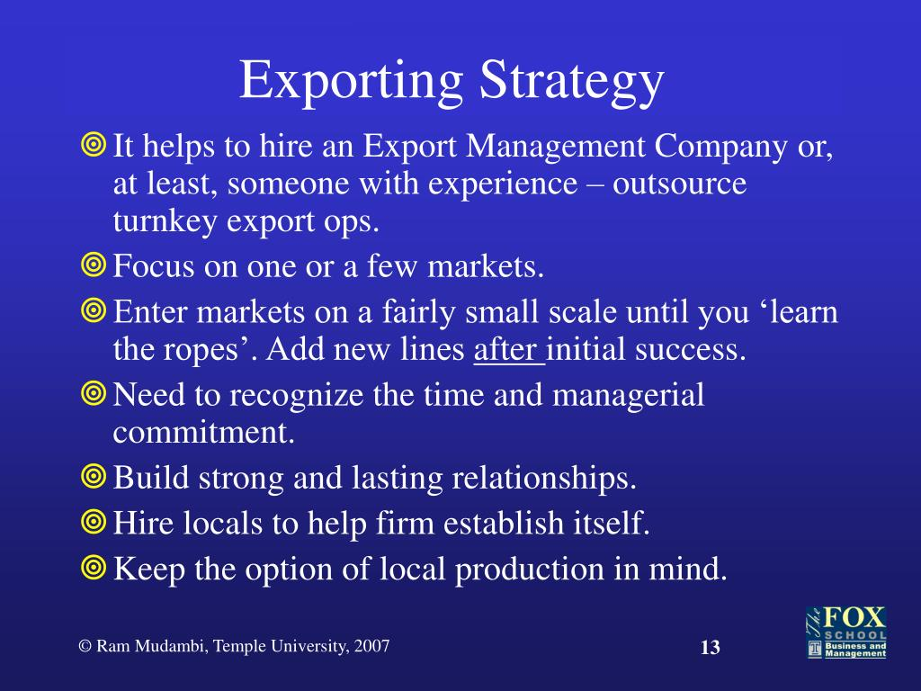 Exporting Strategy
