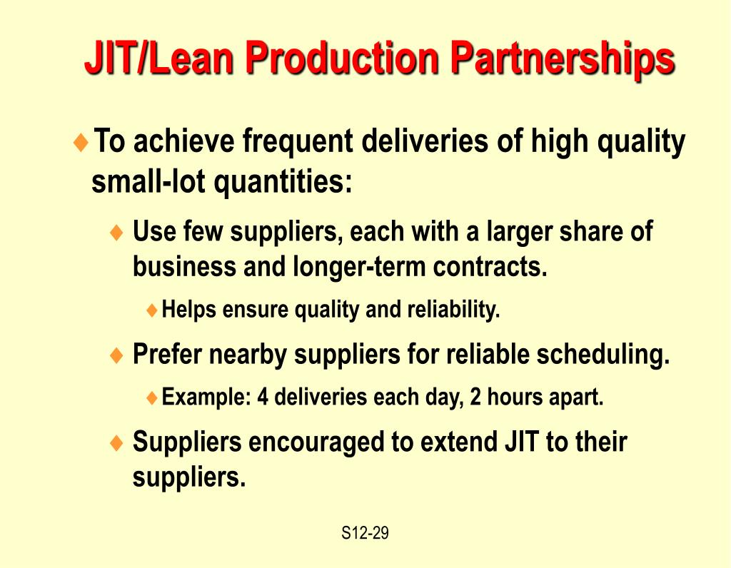 JIT/Lean Production Partnerships