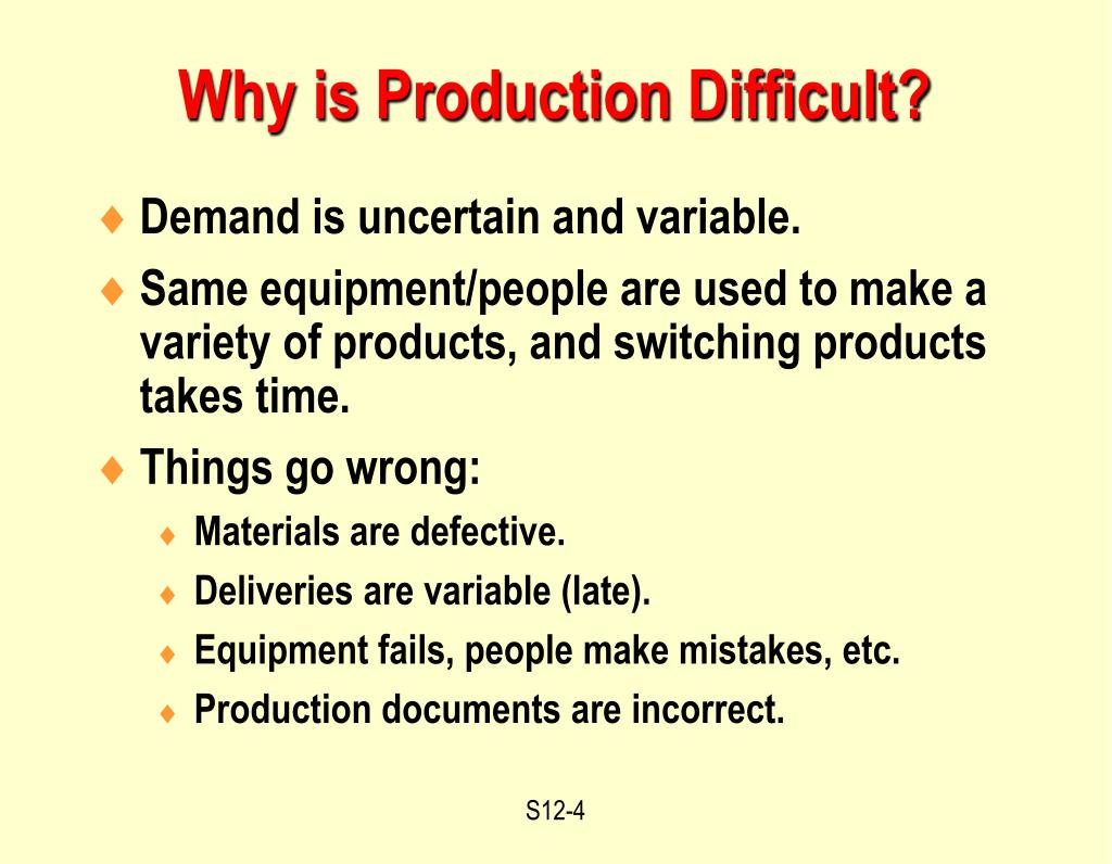 Why is Production Difficult?