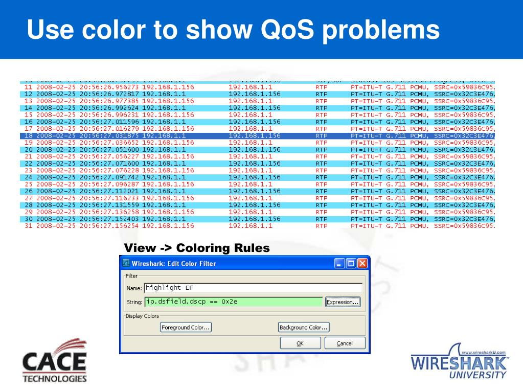 Use color to show QoS problems