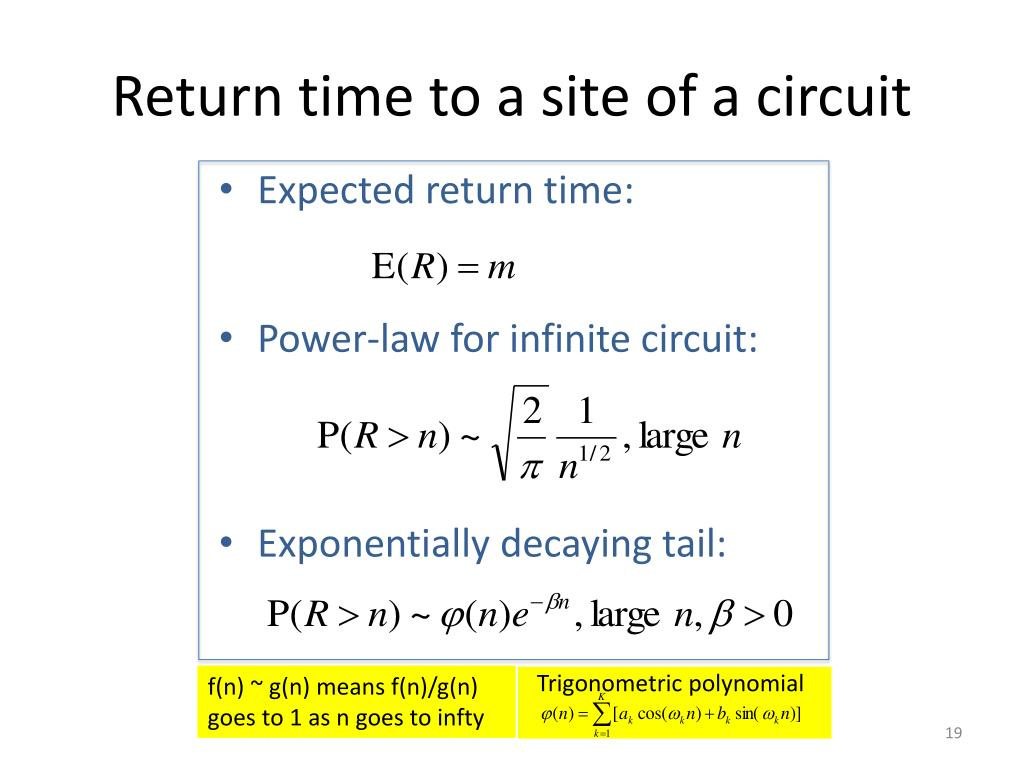 Return time to a site of a circuit