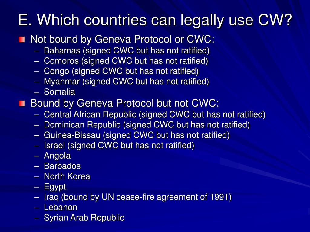 E. Which countries can legally use CW?