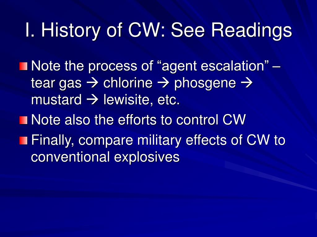 I. History of CW: See Readings