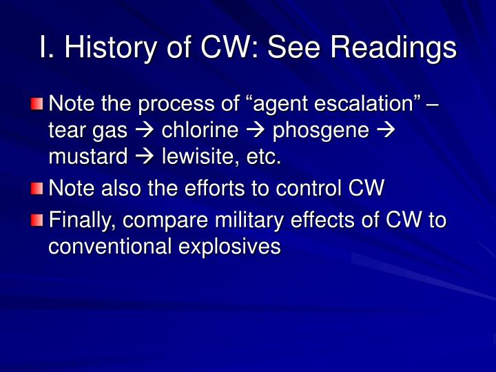 I history of cw see readings
