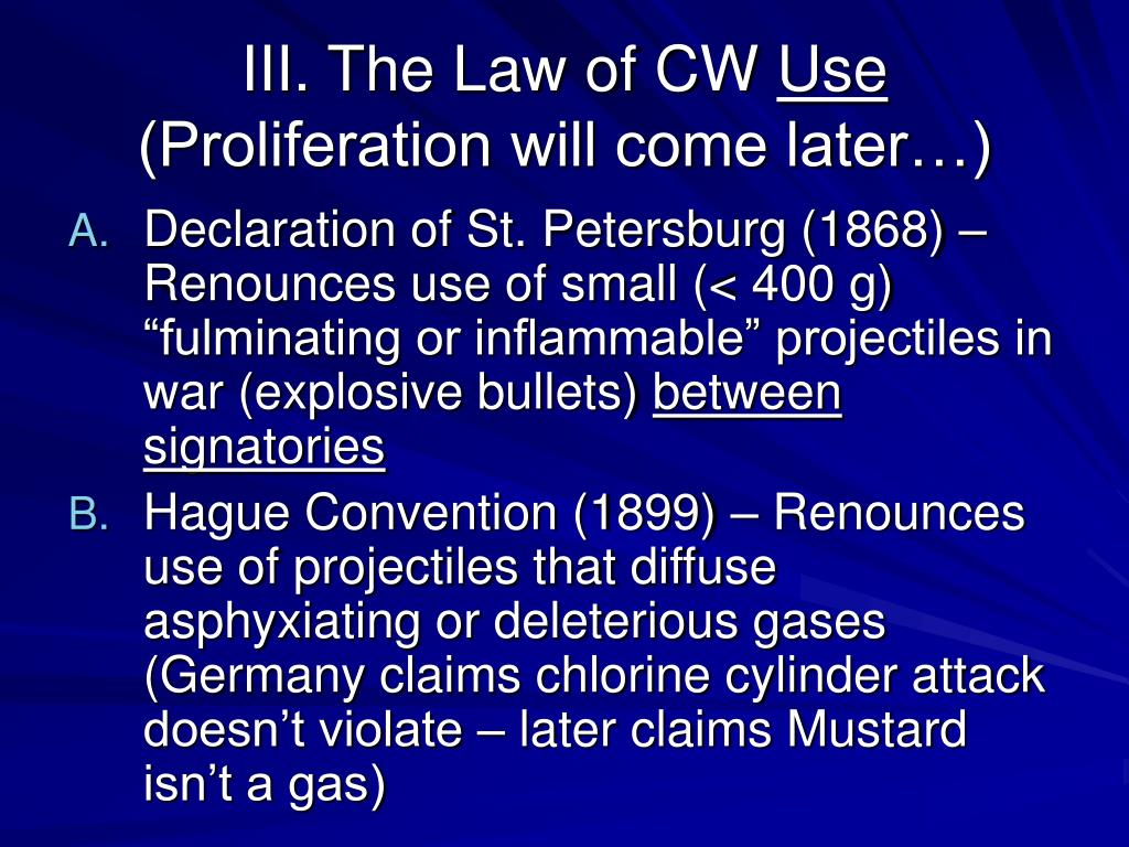 III. The Law of CW