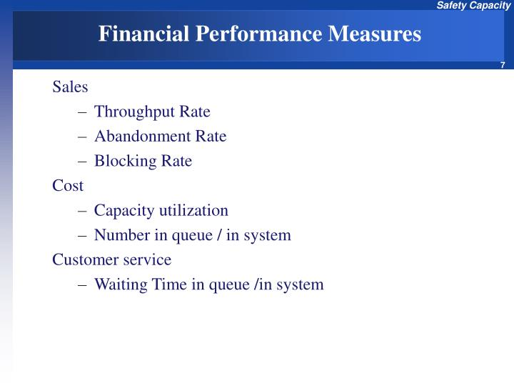 financial performance measures in a traditional Implementing such a financial performance measure in the valuation and reward systems of a firm should ensure that management is aligned with the objective of shareholder value maximisation, and rewarded for achieving it a large number of traditional financial performance measures have been developed.