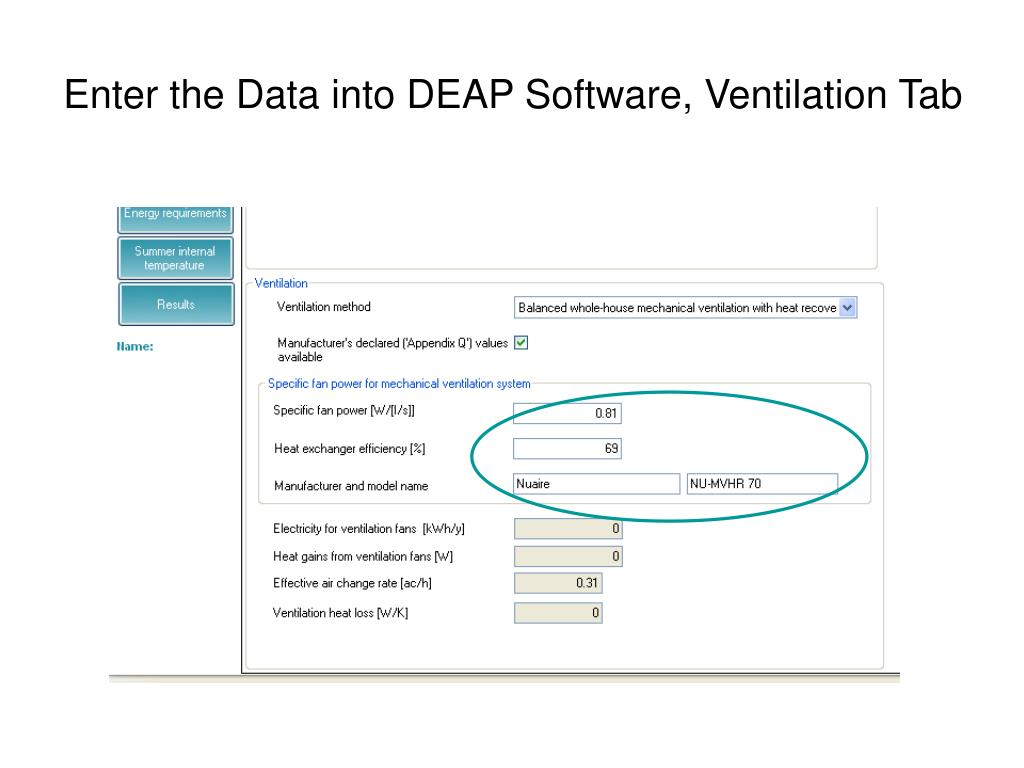 Enter the Data into DEAP Software, Ventilation Tab