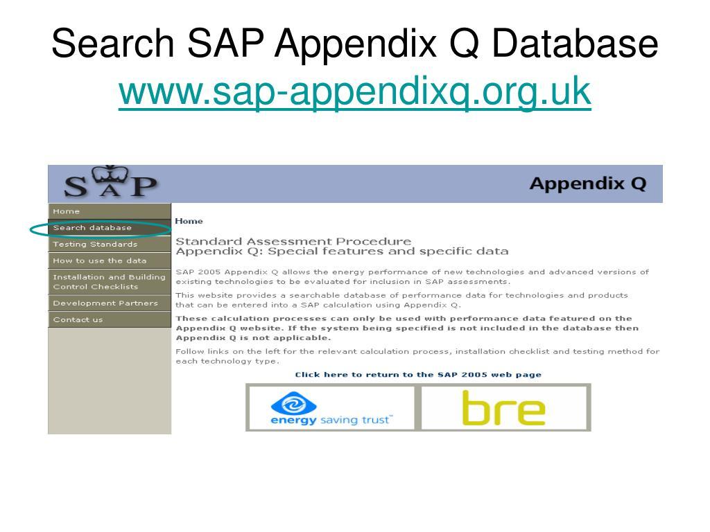 Search SAP Appendix Q Database