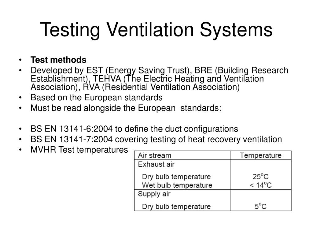 Testing Ventilation Systems
