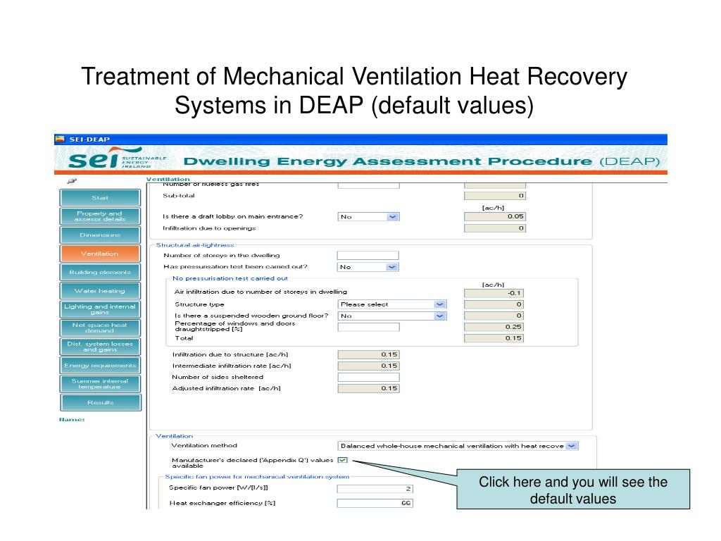 Treatment of Mechanical Ventilation Heat Recovery Systems in DEAP (default values)