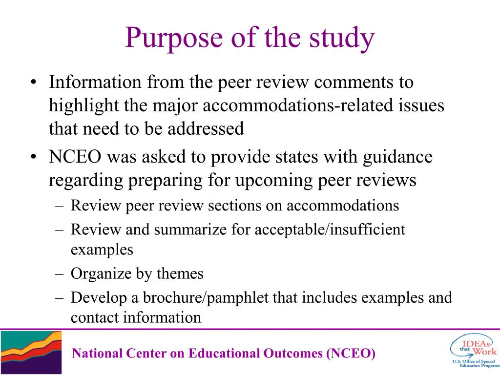 Information from the peer review comments to highlight the major accommodations-related issues that need to be addressed
