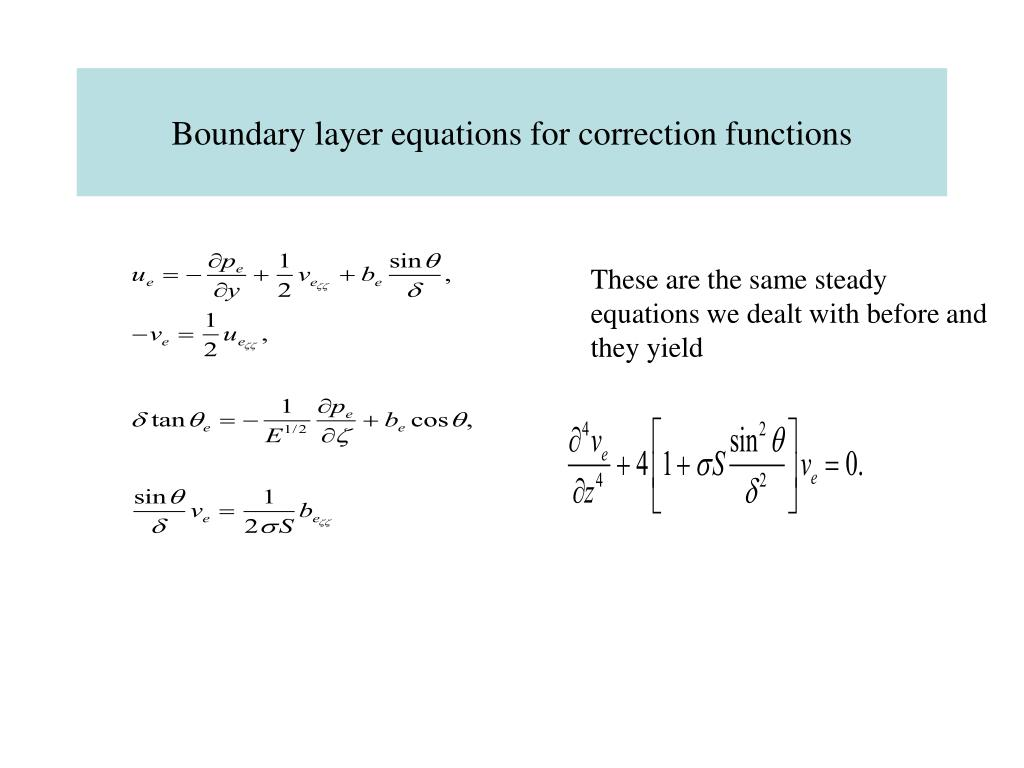 Boundary layer equations for correction functions