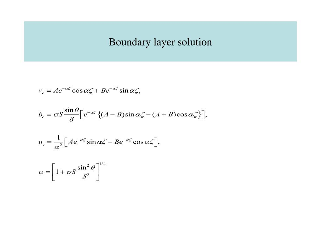 Boundary layer solution