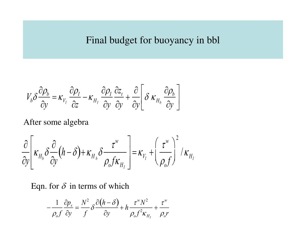 Final budget for buoyancy in bbl