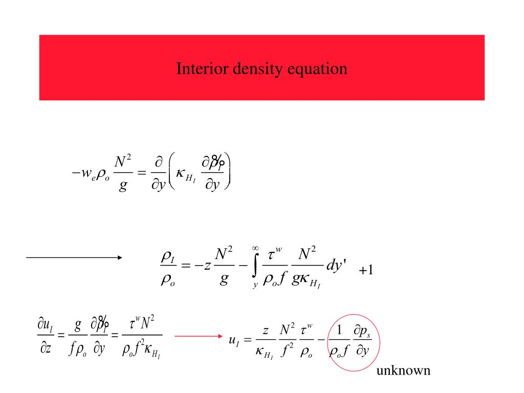 Interior density equation