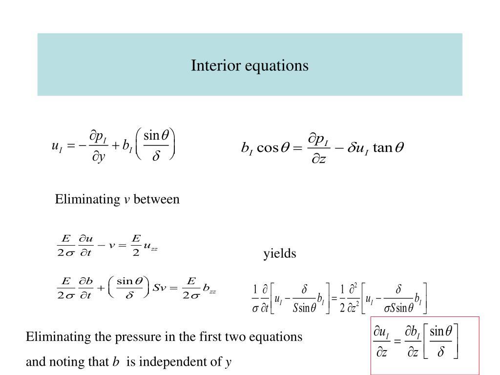 Interior equations