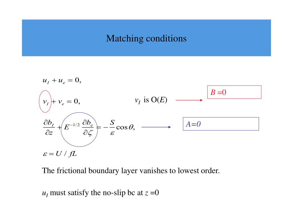 Matching conditions