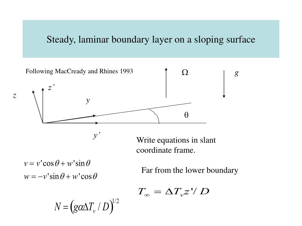 Steady, laminar boundary layer on a sloping surface