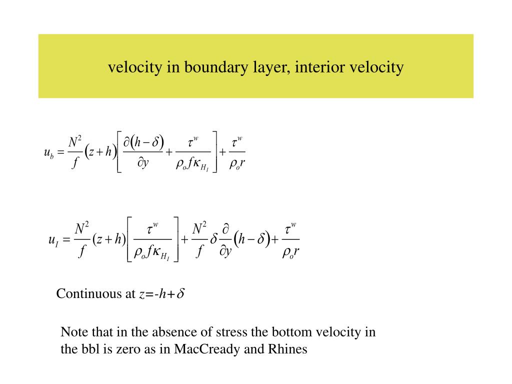 velocity in boundary layer, interior velocity