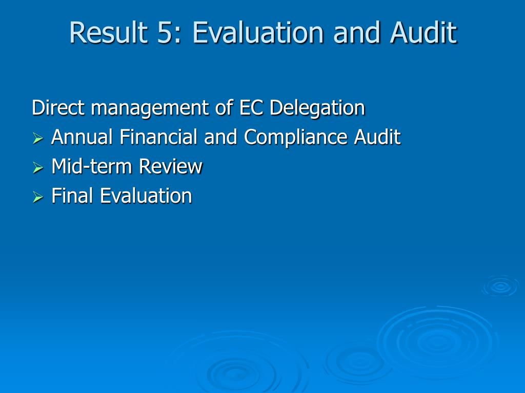 Result 5: Evaluation and Audit