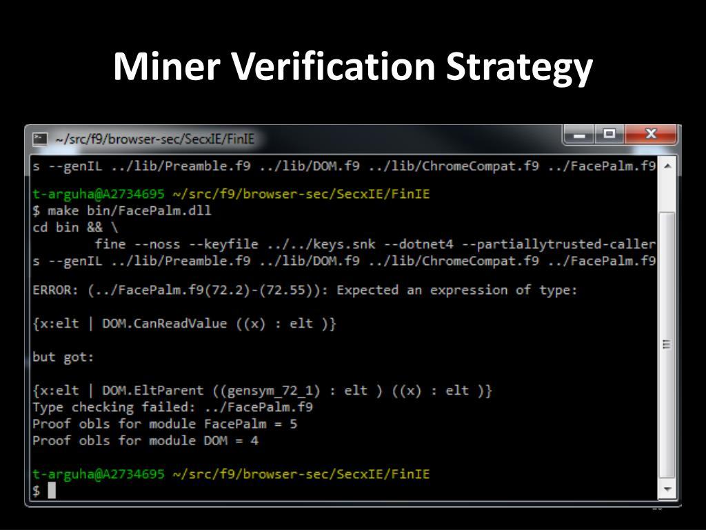 Miner Verification Strategy
