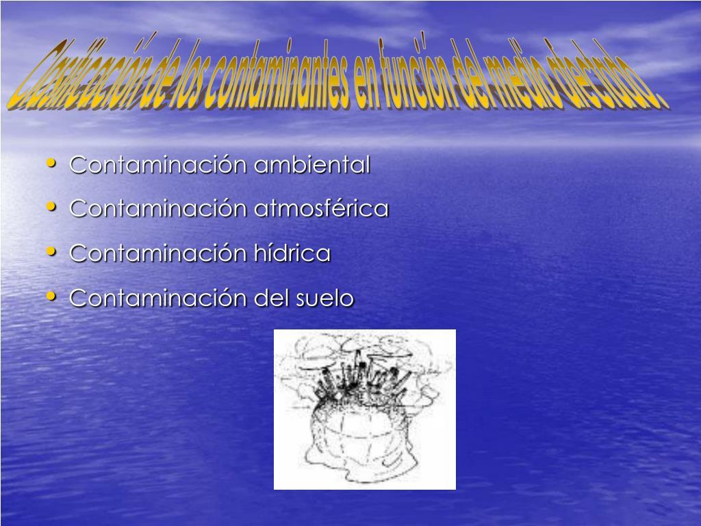 Clasificación de los contaminantes en función del medio afectado.