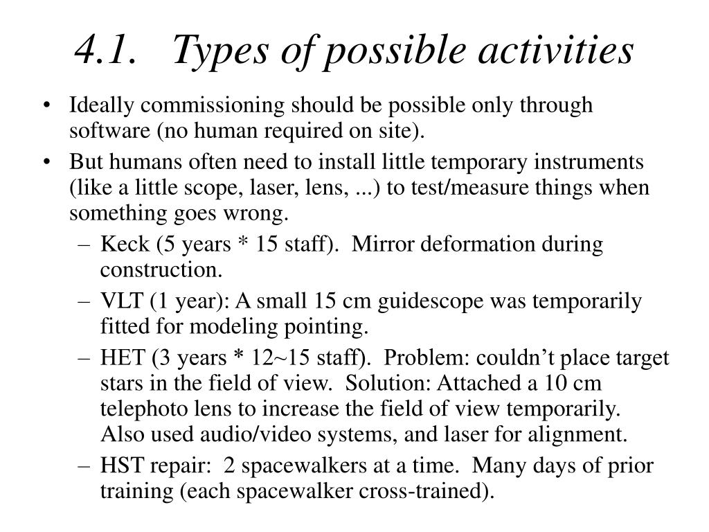 4.1.   Types of possible activities
