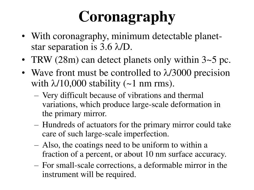 Coronagraphy