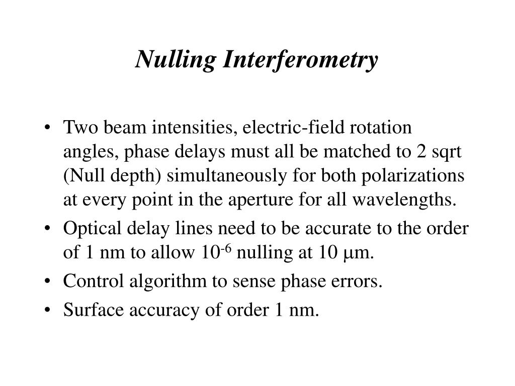 Nulling Interferometry