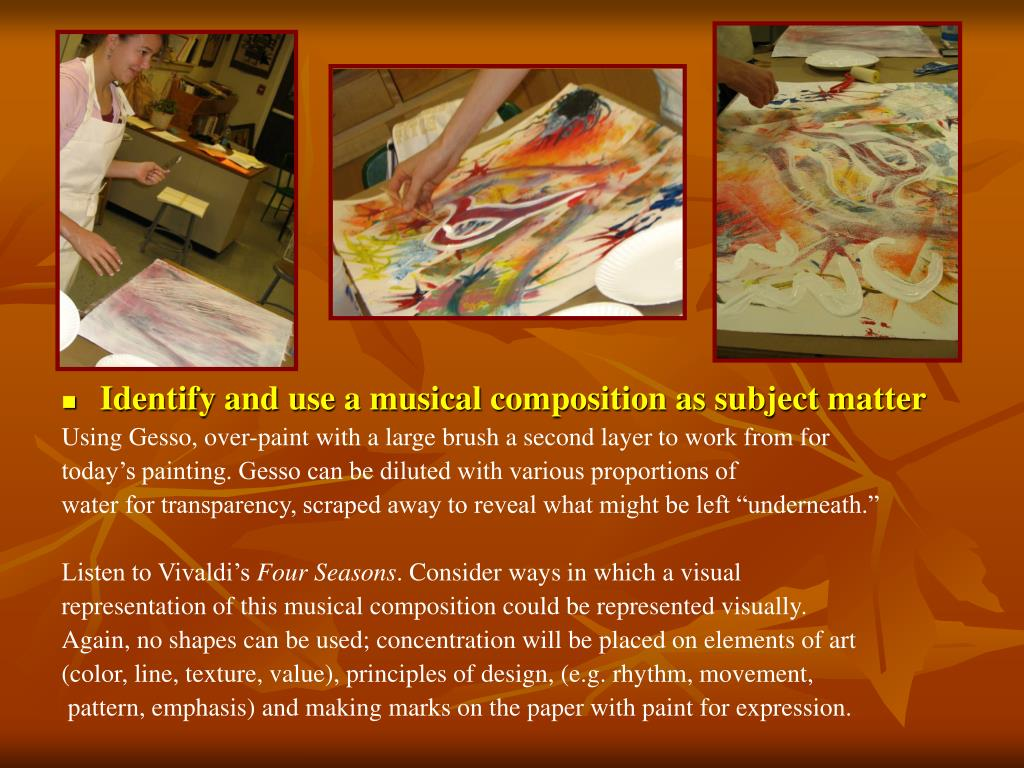 Identify and use a musical composition as subject matter
