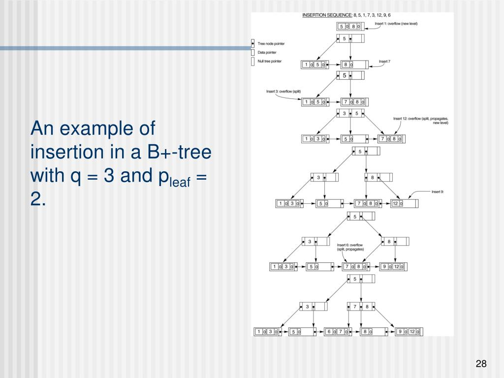 An example of insertion in a B+-tree with q = 3 and p