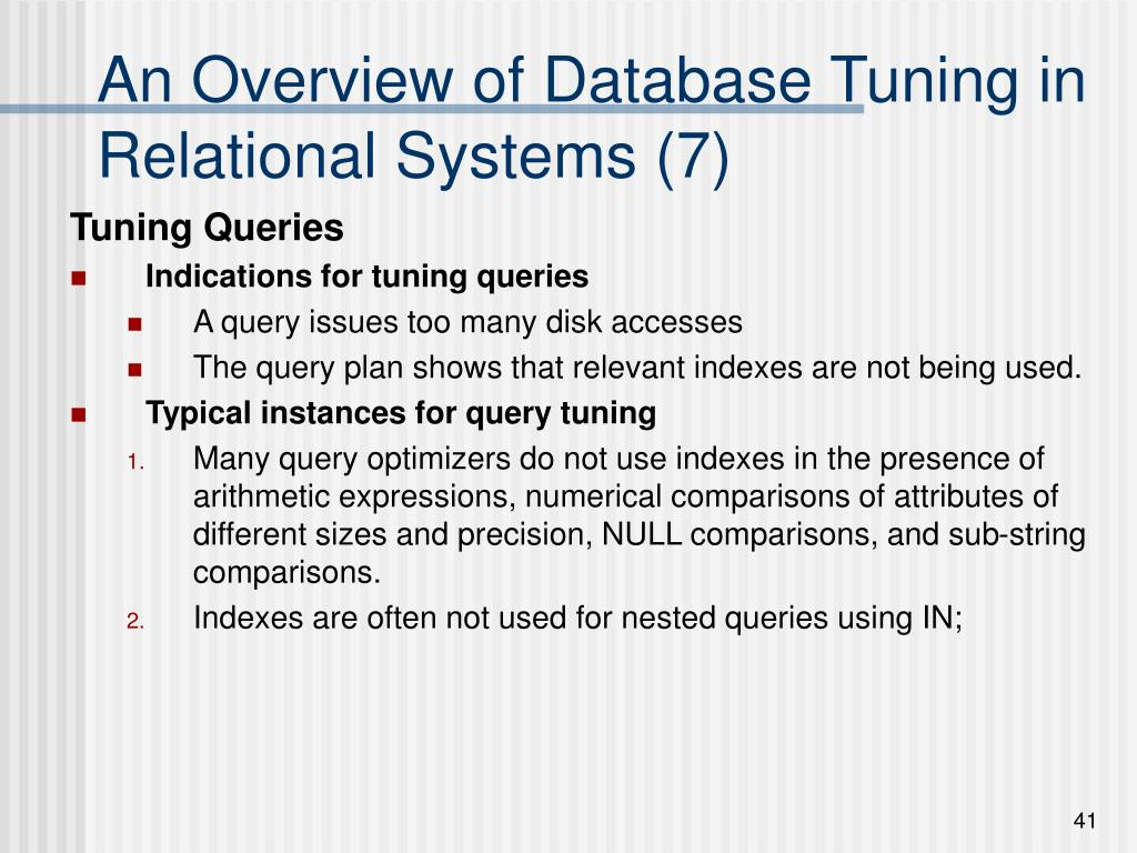 An Overview of Database Tuning in Relational Systems (7)