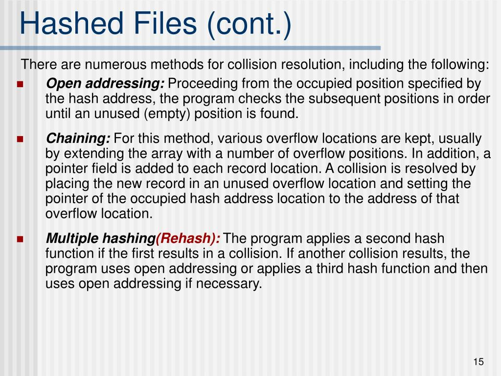 Hashed Files (cont.)