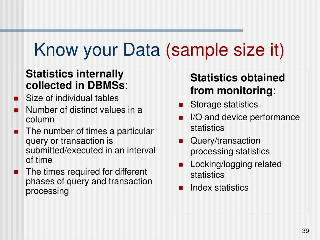 Statistics internally collected in DBMSs