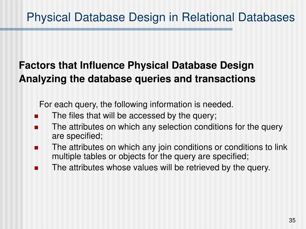 Physical Database Design in Relational Databases