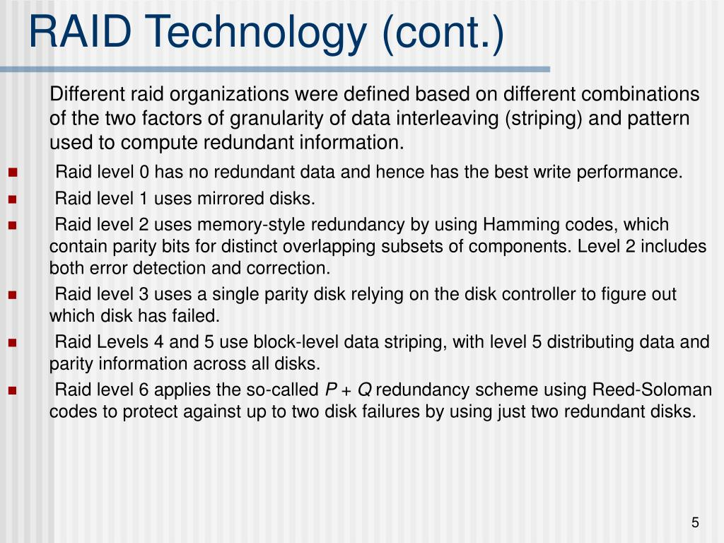 RAID Technology (cont.)