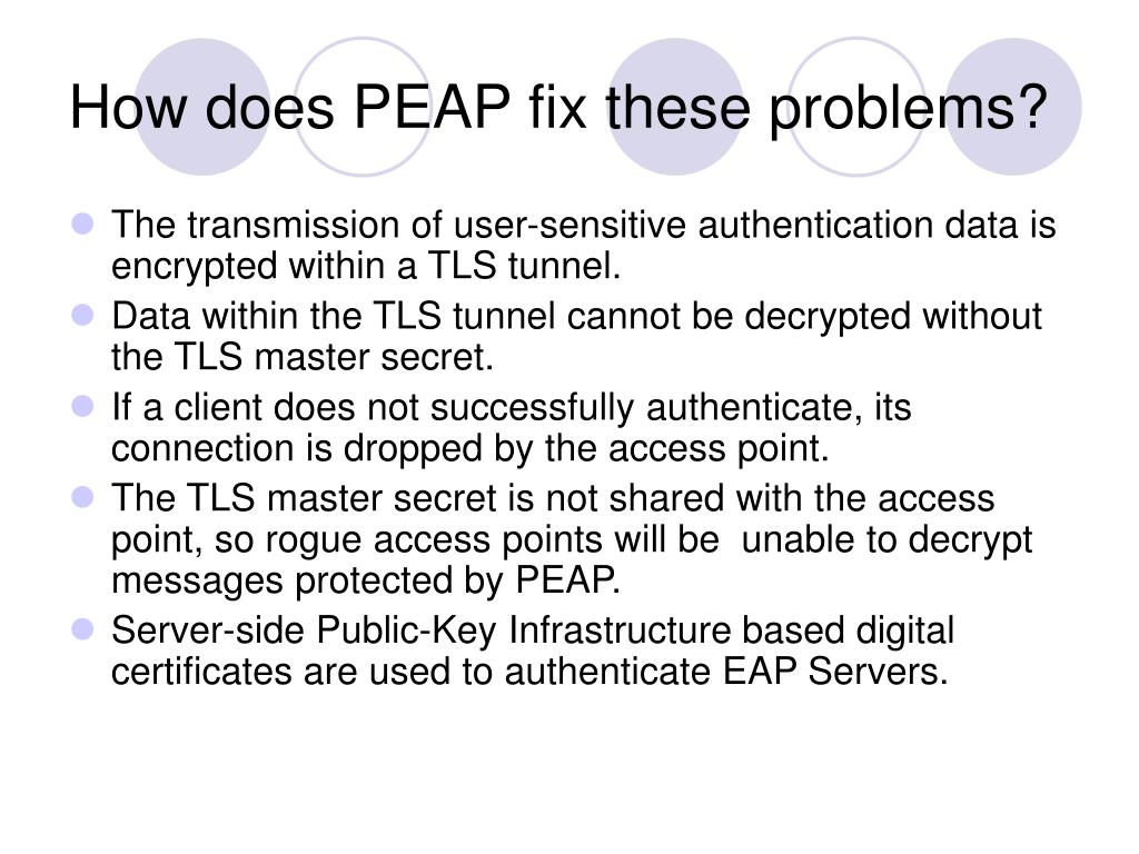 How does PEAP fix these problems?