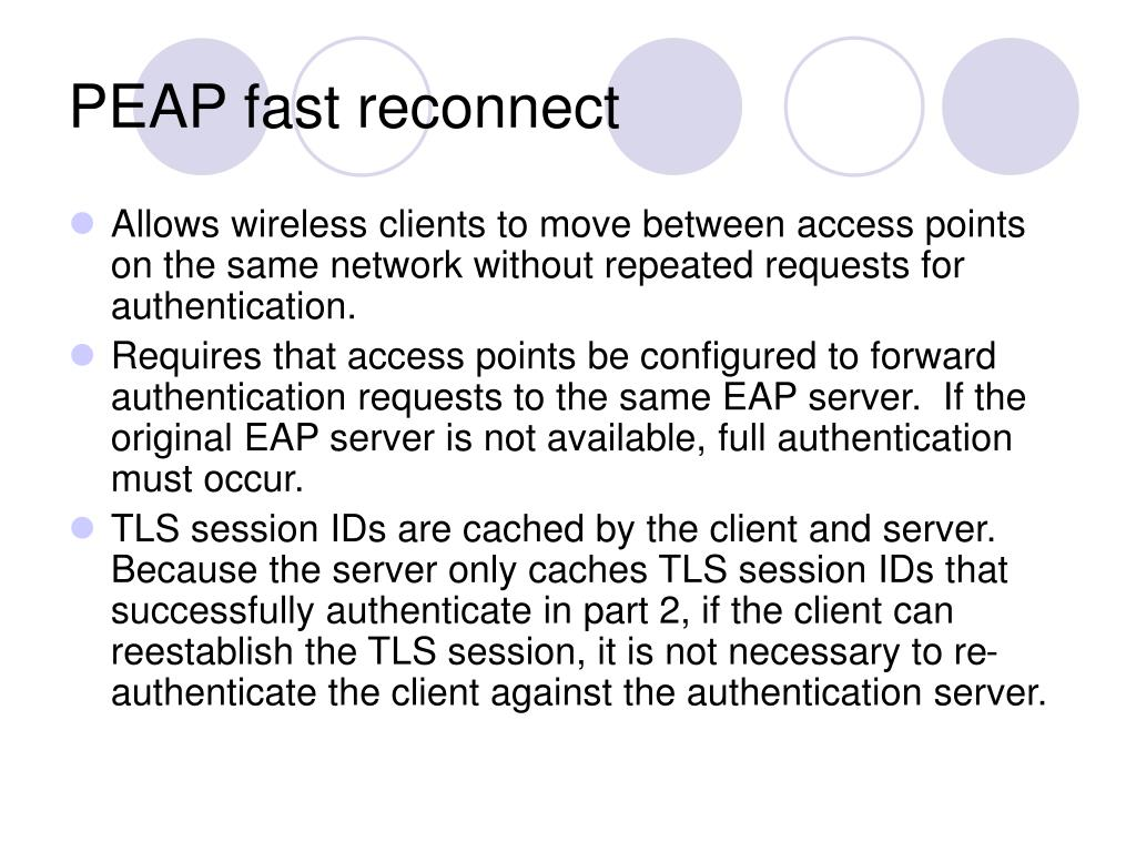 PEAP fast reconnect