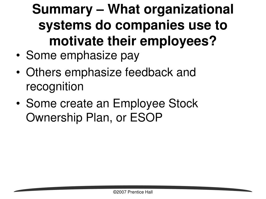 Stock options motivate employees