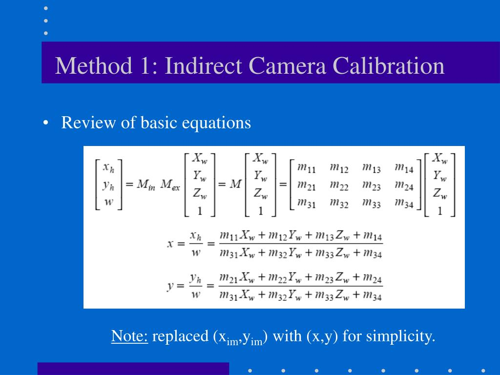 Method 1: Indirect Camera Calibration