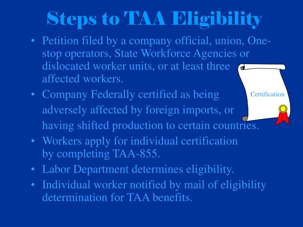 Steps to TAA Eligibility