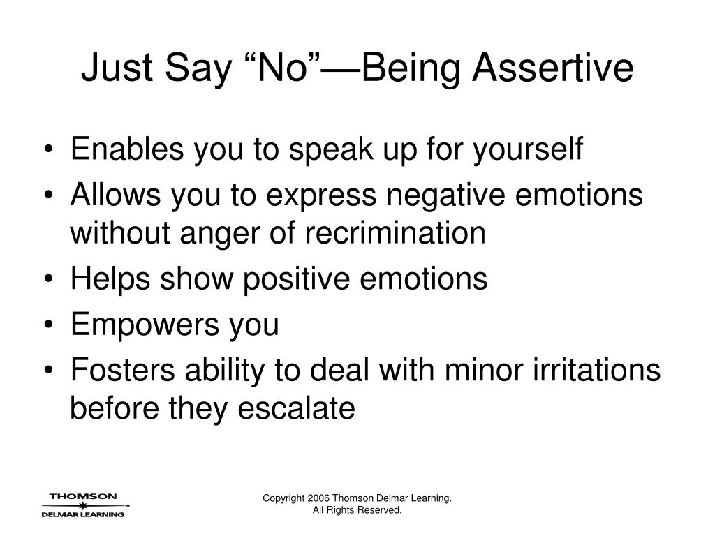 "Just Say ""No""—Being Assertive"