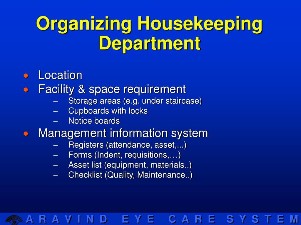 Organizing Housekeeping Department